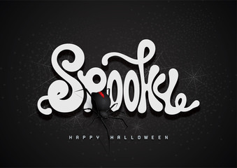 Spooky  3d font and spider, Halloween background.
