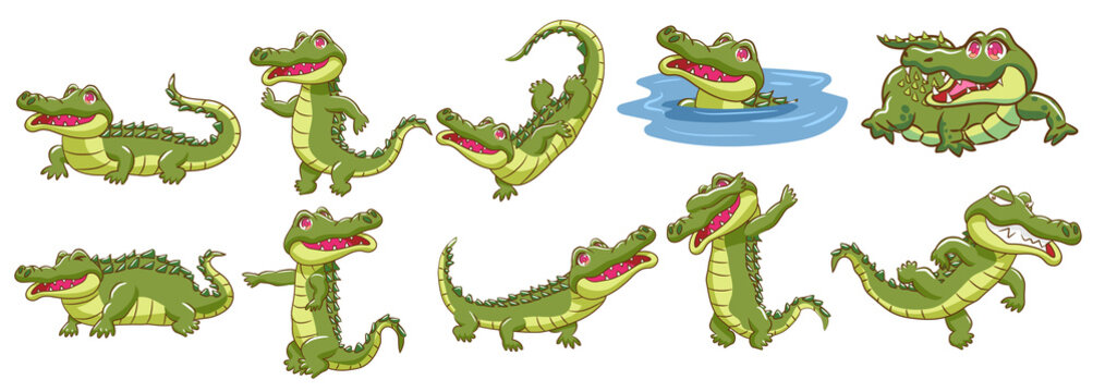 crocodile vector set graphic clipart design