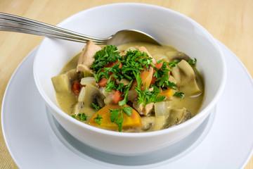 Creamy Salmon & Mushroom Soup