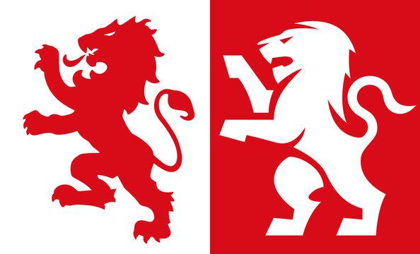 ライオンの紋章 Lion Crest, old and new style heraldic vector emblem