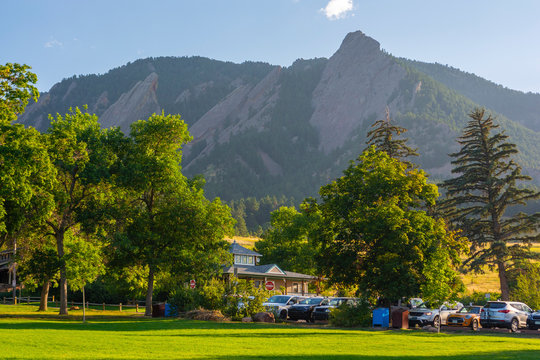 Chautauqua Park and the Flatirons Mountains in Boulder, Colorado During the Day