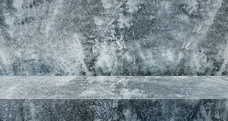 blue concrete texture table product display background.3d perspective studio photography...