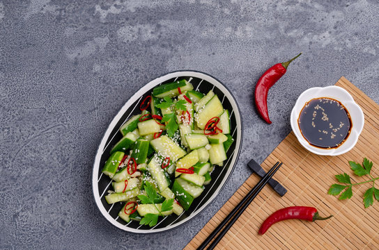 Chinese cucumber salad with spices