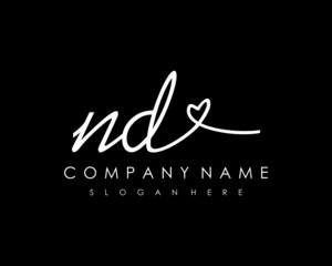 ND Initial handwriting logo vector