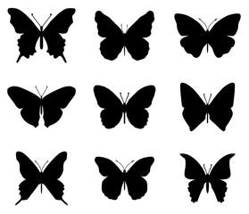 Butterflies silhouettes set.