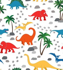 Seamless repeat pattern with a dinosaur scene, palms, rocks and dino tracks in primary colors on white background