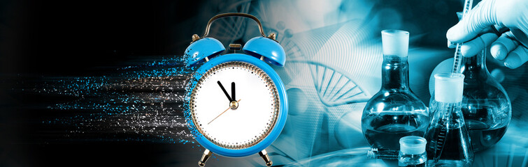 Close-up image of a clock with particles decaying on one side
