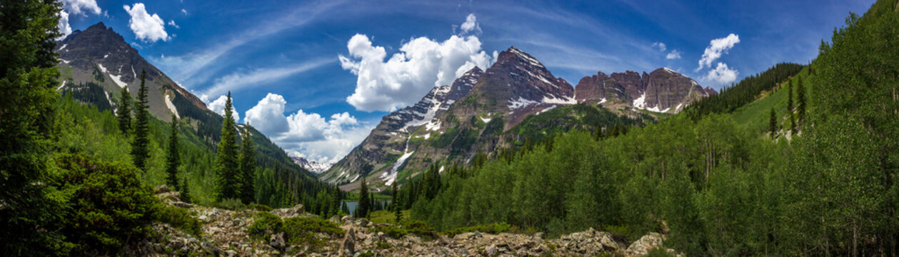 Maroon Bells and Crater Lake Panorama