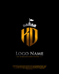 KD, KO letter with shield style logo template vector