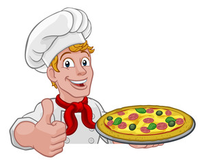 A chef holding a plate of pizza peeking over a sign and giving a thumbs up cartoon