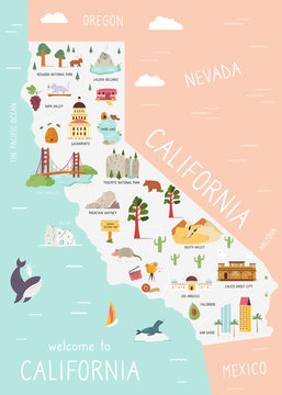 An Illustrated map of California with destinations