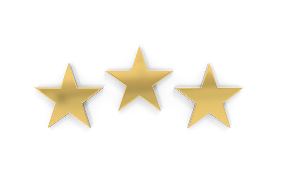 Rating review icon on isolated white background, 3 Star rating symbol, 3d illustration