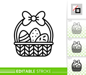 Easter egg basket simple thin line vector icon