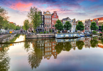 Fotobehang Amsterdam Amsterdam at sunset, Netherlands