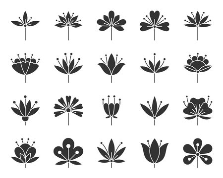 Stylized Flower black silhouette icons vector set
