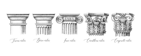 Architectural orders. 5 types of classical capitals - tuscan, doric, ionic, corinthian and composite Fototapete