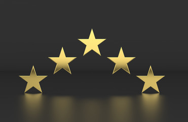 Rating review icon on isolated black background, 5 Star rating symbol, 3d illustration