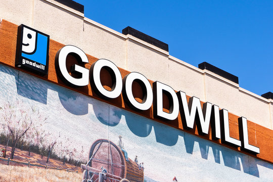August 17, 2019 Sunnyvale / CA / USA - Close up of Goodwill sign at their store in downtown Sunnyvale, Silicon Valley