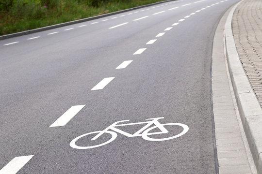 bicycle lane in europe closeup
