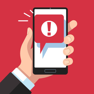 Alert message mobile notification. Hand holding smartphone with exclamation sign, virus notification on phone screen vector concept