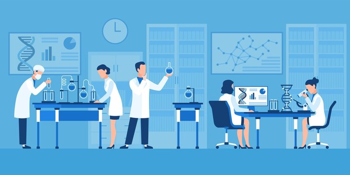 Scientists characters. Chemists in pharmaceutical lab, research with medical equipment. Clinical test with microscope vector concept