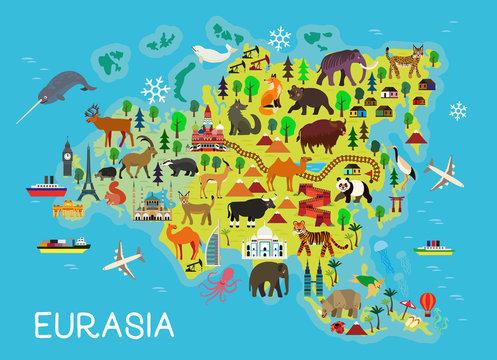 Cartoon animal map. Eurasia for Children and Kids. Vector Illustration.