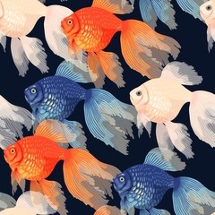 Vector seamless pattern with high detail goldfish
