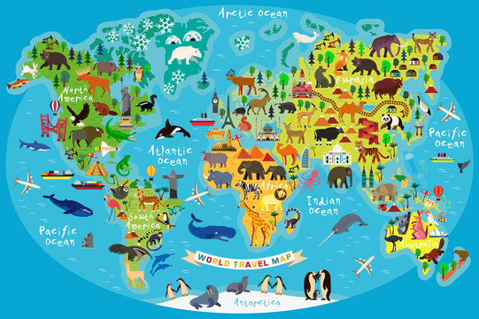 Animal Map of the World for Children and Kids. Vector.