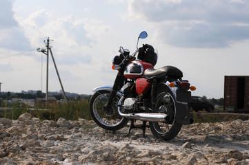 Freedom.Motorbike under sky.Vintage motorbike.Old motorcycle.