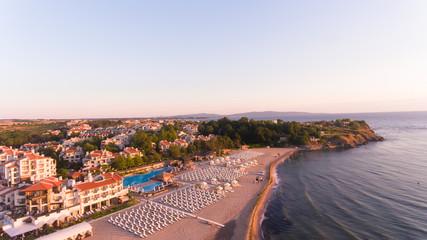 Lozenec, bulgarian sea resort aerial picture, sunrise time , soft colors