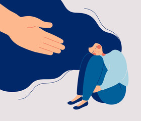 Human hand helps a sad lonely woman to get rid of depression. A young unhappy girl sits and hugs her knees. The concept of support and care for people under stress. Vector illustration in flat style
