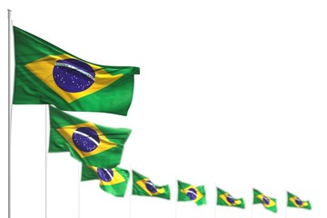 beautiful Brazil isolated flags placed diagonal, picture with bokeh and place for content - any occasion flag 3d illustration..