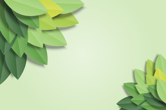 Green leaves frame on green background. Trendy origami paper cut style vector illustration.