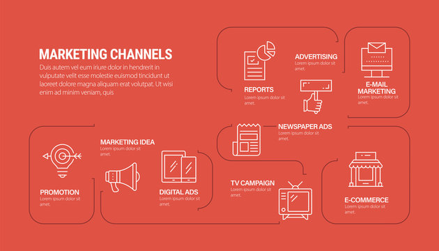 MARKETING CHANNELS INFOGRAPHIC DESIGN STOCK ILLUSTRATION