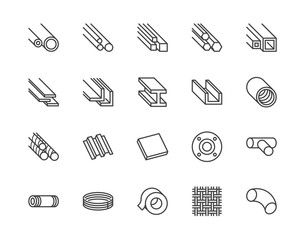 Stainless steel flat line icons set. Metal sheet, coil, strip, pipe, armature vector illustrations. Outline signs for metallurgy products, construction industry. Pixel perfect 64x64. Editable Strokes