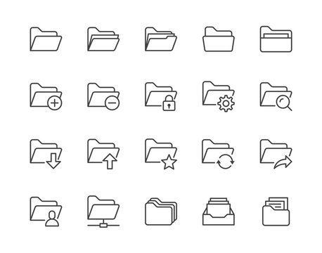 Folders flat line icons set. File catalog, document search, folder synchronization, local network vector illustrations. Outline minimal signs for web site. Pixel perfect 64x64. Editable Strokes