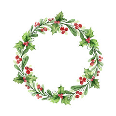 Watercolor vector Christmas wreath with green branches and red berries.