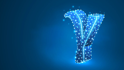 Gamma, the third letter of a Greek alphabet. Greek numerals, mathematical number three concept. Abstract, digital, wireframe, low poly mesh, Raster blue neon 3d illustration. Triangle, line dot