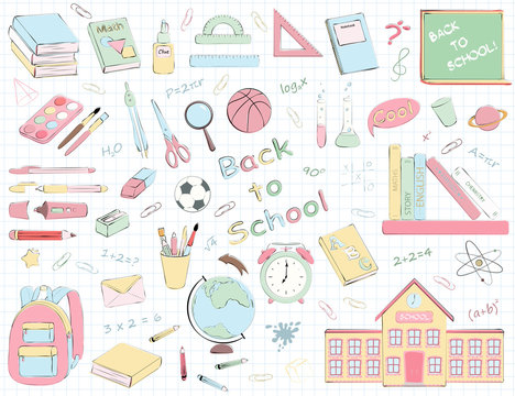 Vector set of multicolour school supplies and stationery.