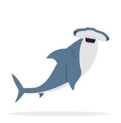 cute flat Hammerhead shark  vector