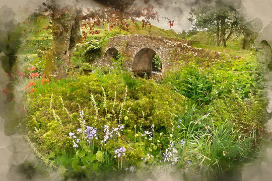 Digital watercolor painting of Landscape image of medieval bridge in river setting in English countryside