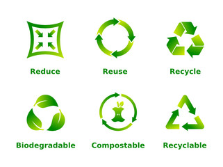 Reduce, reuse, recycle, biodegradable, compostable, recyclable, icon set. Six recycle green gradient signs on white background. Zero waste,ecofriendly,concept. Vector illustration,flat style,clip art. Wall mural