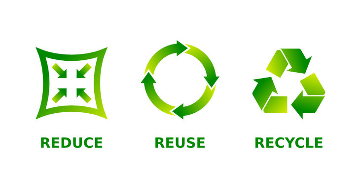 Reduce, reuse, recycle sign set. Three different green gradient recycle, reduce, reuse icons. Ecology, sustainability, conscious consumerism, renew, concept. Vector illustration, flat style, clip art.
