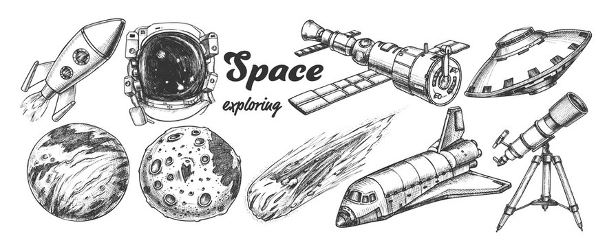 Collection Of Space Exploring Elements Set Vector. Space Rocket And Shuttle, Satellite And Ufo, Asteroid And Exposure Suit, Planet And Telescope. Hand Drawn In Vintage Style Monochrome Illustrations