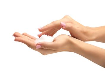 Obraz Female hands with soap on white background - fototapety do salonu