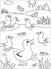Spring or summer joy themed coloring page with ducklings at the pond.
