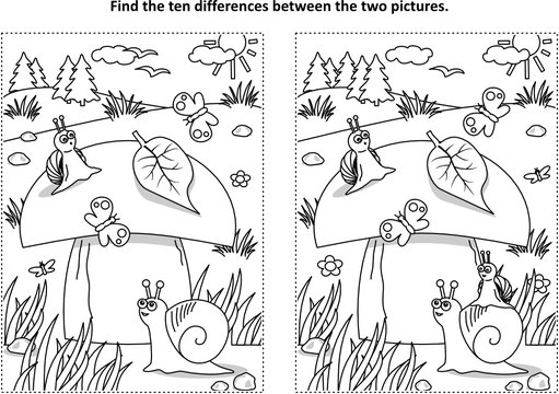 Find the ten differences picture puzzle and coloring page with big yummy mushroom and mom and kids snails