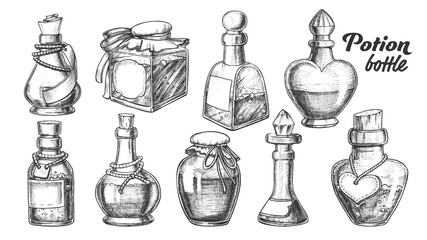 Collection Of Different Potion Bottles Set Vector. Many Kinds And Form Blank Poison Or Potion Bottles With Liquid. Various Shapes Glass Jars Hand Drawn In Vintage Style Monochrome Illustrations
