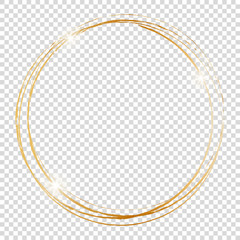 gold round frame on transparent background