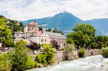 Meran, Kurhaus, Altstadt, Passer, Fluss, Passerpromenade, Kurpromenade, Vinschgau, Etschtal, Südtirol, Sommer, Italien
